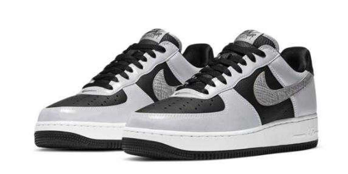 New Release 2021 Nike Air Force 1 Low B 3M Snake Black Silver for Sale