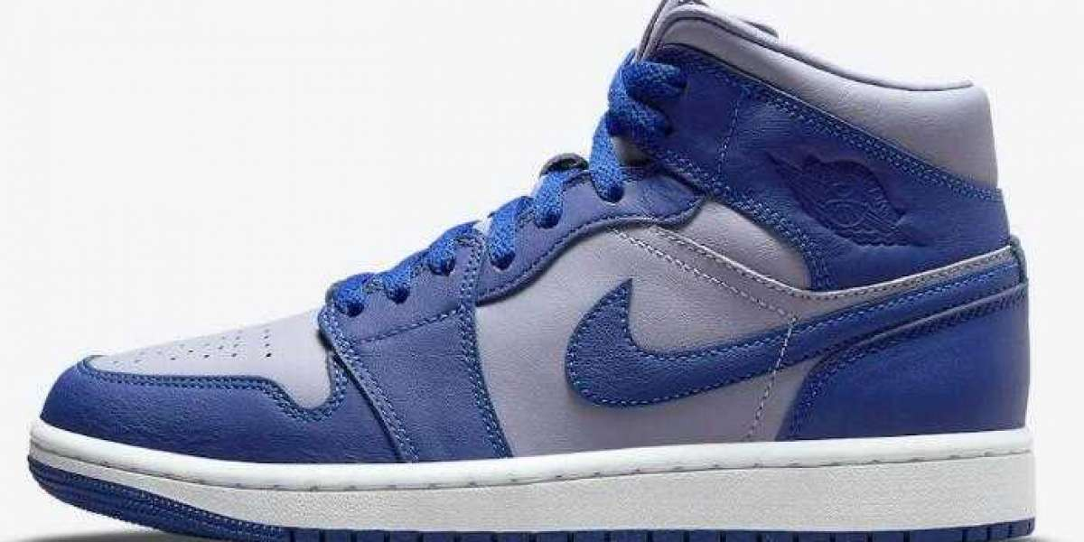 Women Air Jordan 1 Mid Dropping With New Grey and Blue Colorway